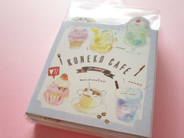 Photo1: Kawaii Cute Patapata Mini Memo Pad Koneko Cafe Crux *Colorful (55454)