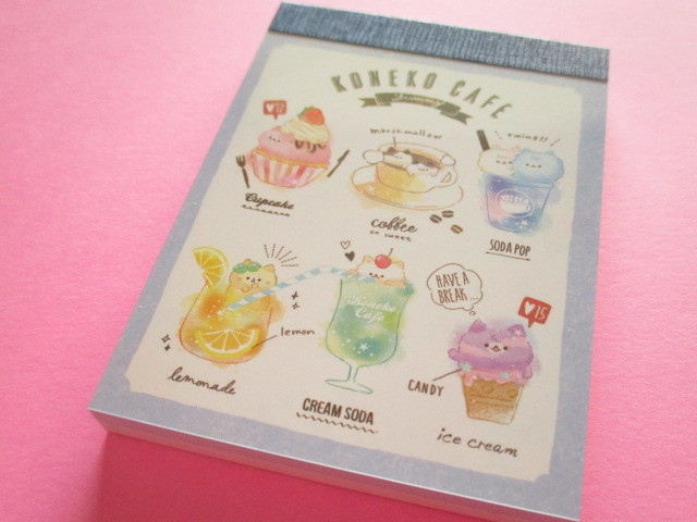 Photo1: Kawaii Cute Mini Memo Pad Koneko Cafe Crux *Colorful (55452)