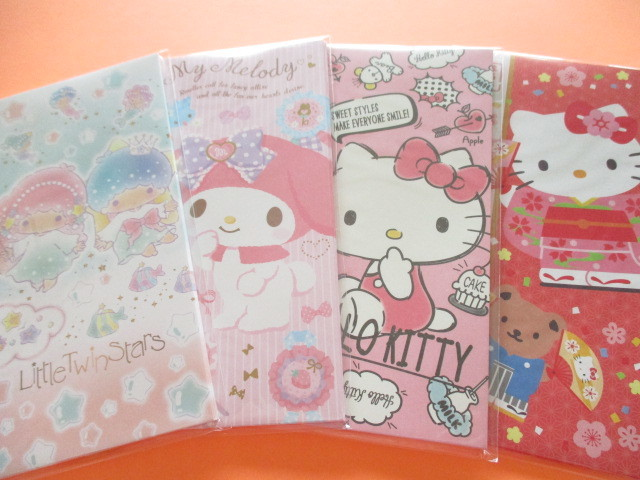 Photo1: 4 pcs Kawii Cute Envelopes Set Sanrio *Hello Kitty, My Melody & Little Twin Stars