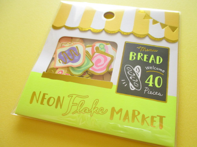 Photo1: Kawaii Cute Sticker Neon Flake Market Mind Wave *Bread Shop (79464)