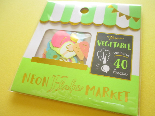 Photo1: Kawaii Cute Sticker Neon Flake Market Mind Wave *Vegetable Shop (79466)