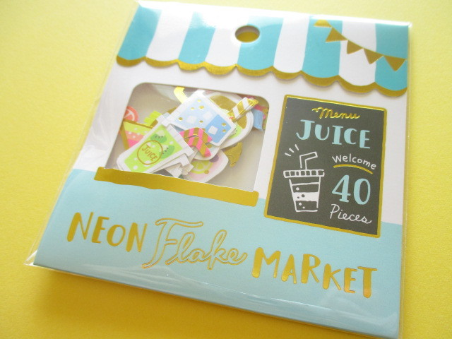 Photo1: Kawaii Cute Sticker Neon Flake Market Mind Wave *Juice Shop (79462)