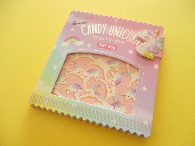 Photo1: Kawaii Cute Delicafe Collection Medium Memo Pad Q-LiA *Candy Unicorn (30329)