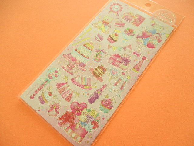 Photo1: Kawaii Cute Pluie Douce Stickers Sheet Mind Wave *Pink Party (79572)