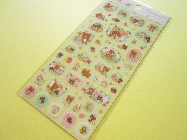 Photo1: Kawaii Cute Stickers Sheet San-x *Rilakkuma met Small and Cute Rabbits in the Flower Forest (SE37302)