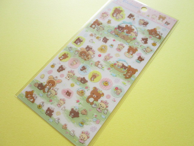 Photo1: Kawaii Cute Stickers Sheet San-x *Rilakkuma met Small and Cute Rabbits in the Flower Forest (SE37301)