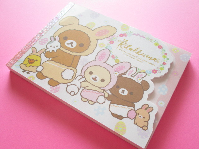 Photo1: Kawaii Cute Large Memo Pad San-x *Rilakkuma met Small and Cute Rabbits in the Flower Forest (MW46501)
