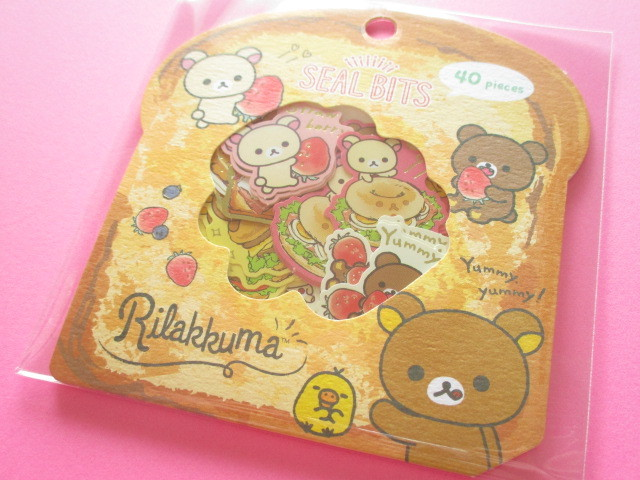 Photo1: Seal Bits Kawaii Cute Sticker Flakes Sack San-x *Rilakkuma (SE37903)