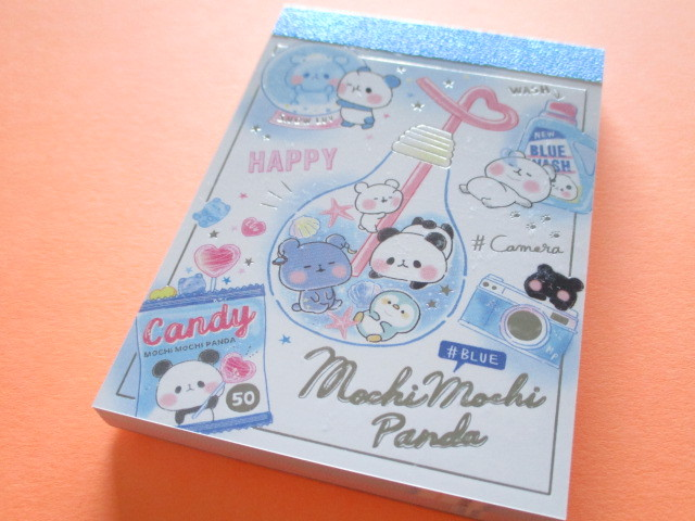 Photo1: Kawaii Cute Mini Memo Pad Mochi Mochi Panda Kamio Japan *Blue (21928)