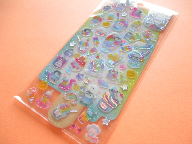 Photo1: Kawaii Cute Hapipi Ice Pop Stickers Sheet Q-LiA *Tropical Soda (31161)