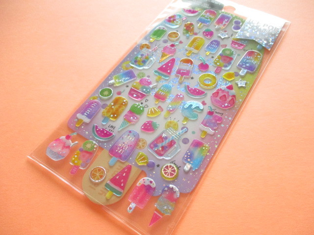 Photo1: Kawaii Cute Hapipi Ice Pop Stickers Sheet Q-LiA *Fruits Icecandy (31163)