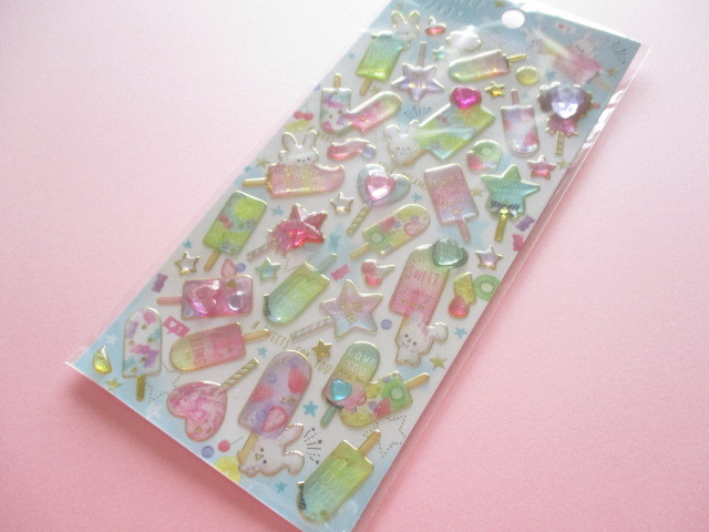 Photo1: Kawaii Cute Twinkle Aqua Stickers Sheet Q-LiA *Lollipop Party (31193)