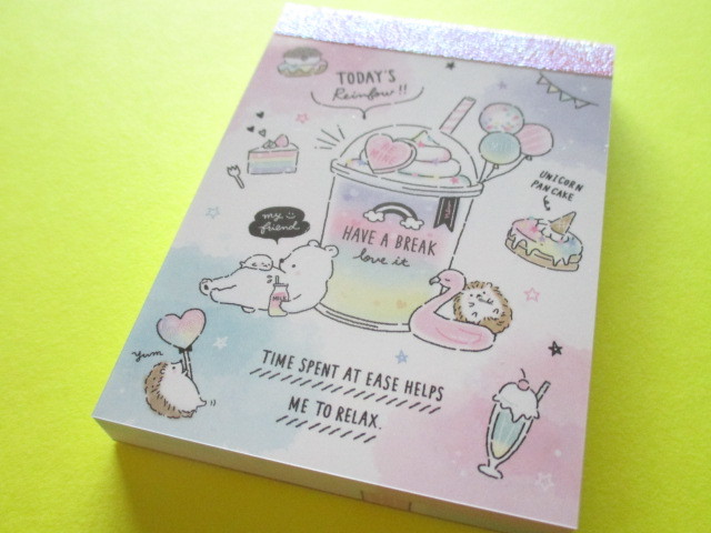 Photo1: Kawaii Cute Mini Memo Pad Q-LiA *Today's Rainbow (30391)