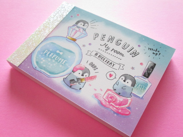 Photo1: Kawaii Cute Mini Memo Pad Crux *Penguin My Room (55680)