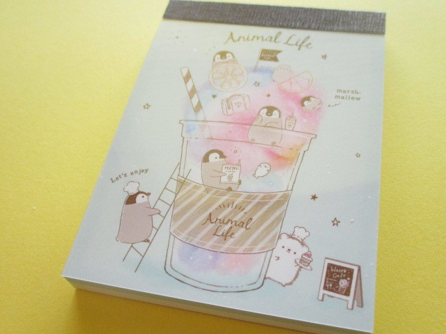 Photo1: Kawaii Cute Mini Memo Pad Kamio Japan *Animal Life (22310)