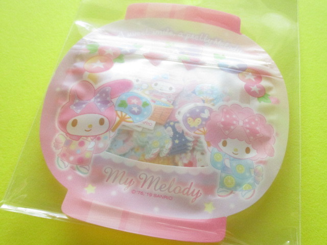 Photo1: Kawaii Cute 和風 Summer Sticker Flakes Sack Sanrio Original *My Melody (32551-1)