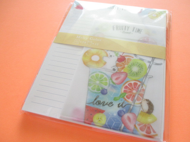 Photo1: Kawaii Cute Melty Color Letter Set Crux *Fruity Time (09186)