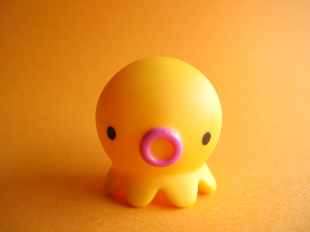 Photo1: Octopus Takochu Plastic Mini Figure Toy *Orange with Pink Lip