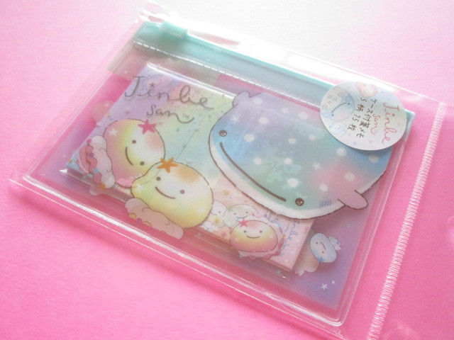 Photo1: Kawaii Cute Mini Memo Pad with Clear Case Set Jinbesan San-x *Nanairo Kurage (MW52901)