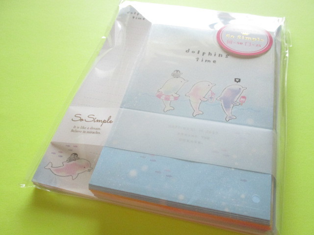 Photo1: Kawaii Cute So Simple Letter Set Crux *Dolphins Time (09207)
