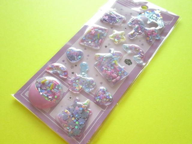 Photo1: Kawaii Cute Capsule Sparkle Catch Stickers Sheet Crux *Unicorn (05925)