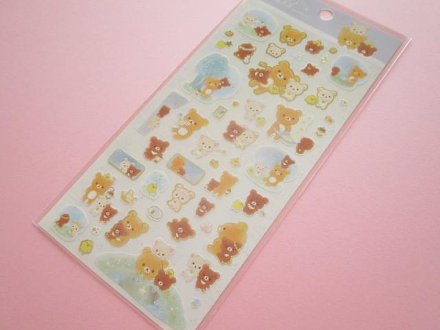 Photo1: Kawaii Cute Sticker Sheet Rilakkuma San-x *Chairoikoguma and Starry Night (SE38702)