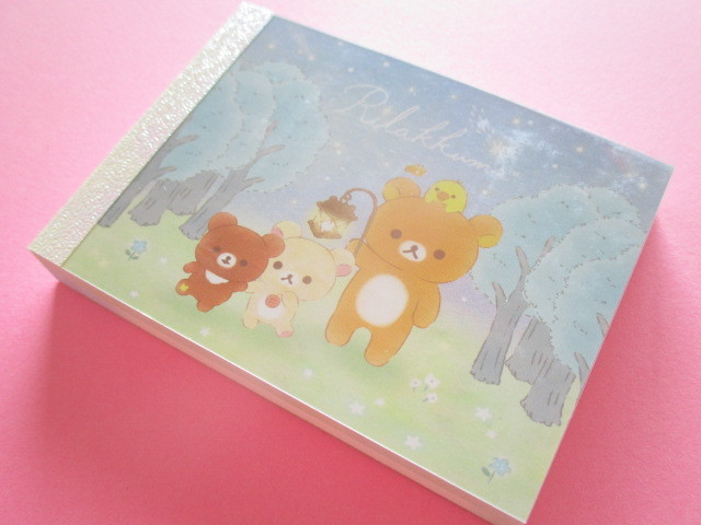 Photo1: Kawaii Cute Mini Memo Pad Rilakkuma San-x *Chairoikoguma and Starry Night (MW51401-4)