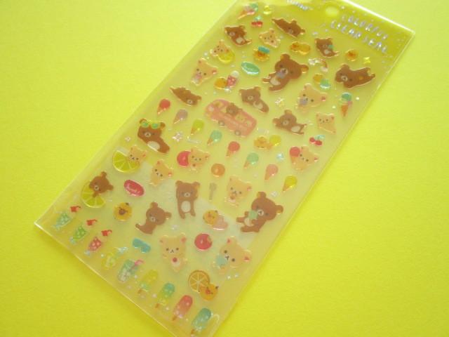 Photo1: Kawaii Cute Colorful Clear Sticker Sheet San-x *Rilakkuma (SE39003)