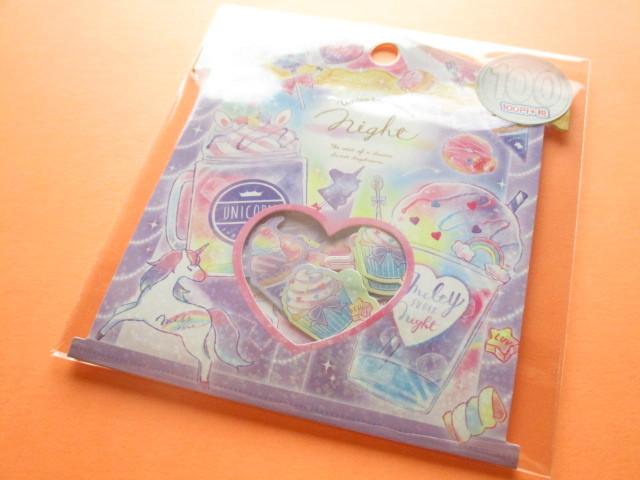 Photo1: Kawaii Cute Sticker Flakes Sack Kamio Japan *Unicorn Sugar Night (24545)