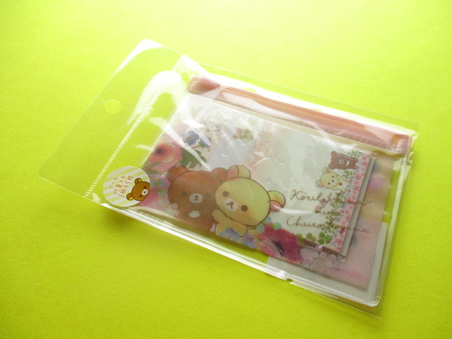 Photo1: Kawaii Cute Mini Sticky Memo Pad with Clear Case Set San-x *Rilakkuma (MW53901)