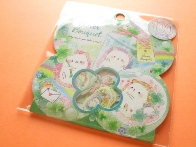 Photo1: Kawaii Cute Sticker Flakes Sack Kamio Japan *Clover Bouquet (24547)