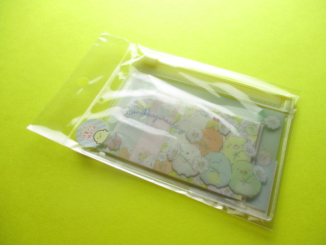 Photo1: Kawaii Cute Mini Sticky Memo Pad with Clear Case Set San-x *Sumikkogurashi (MW54101)