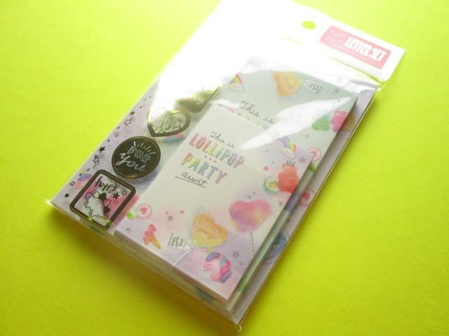 Photo1: Kawaii Cute Mini Letter Set Crux *Lollipop Party (09229)