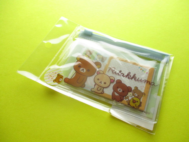 Photo1: Kawaii Cute Mini Sticky Memo Pad with Clear Case Set San-x *Rilakkuma (MW53801)