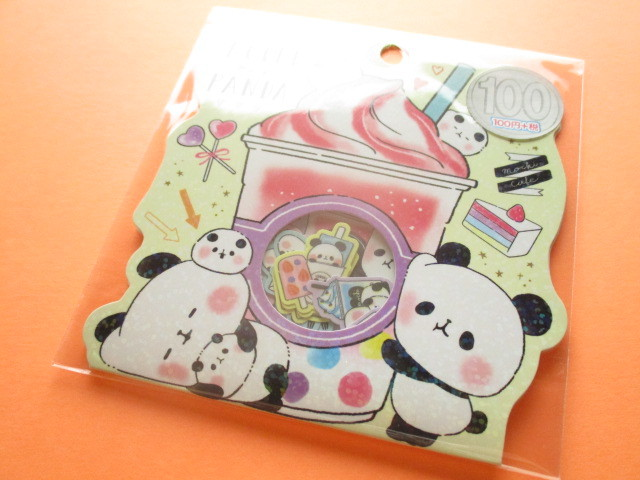 Photo1: Kawaii Cute Sticker Flakes Sack Kamio Japan *Mochi Mochi Panda (24544)
