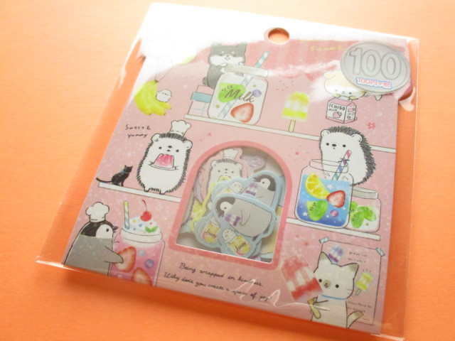 Photo1: Kawaii Cute Sticker Flakes Sack Kamio Japan *Animal Life (24542)