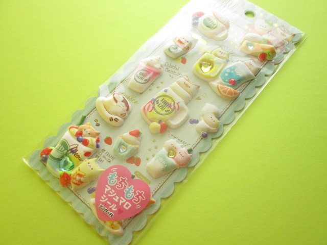 Photo1: Kawaii Cute Puffy Marshmallow Stickers Sheet Crux *Koneko Cafe (05960)
