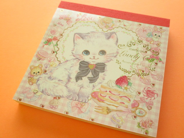 Photo1: Kawaii Cute Medium Memo Set  Amenomori Fumika Clothes Pin *Lovely Cat (MM-13735)