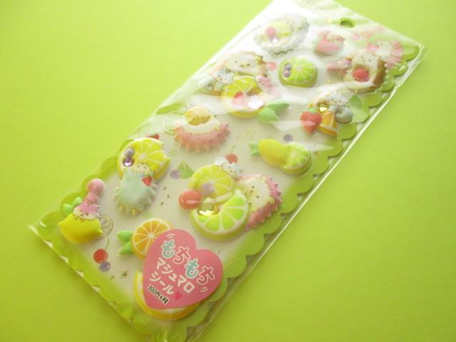 Photo1: Kawaii Cute Puffy Marshmallow Stickers Sheet Crux *Uki Uki Happy (05959)