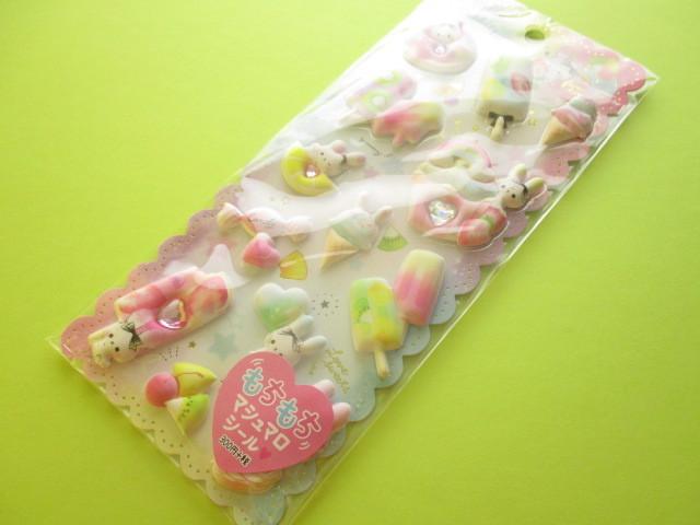 Photo1: Kawaii Cute Puffy Marshmallow Stickers Sheet Crux *Fluffy Rabbits (05958)