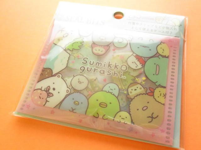 Photo1: Seal Bits Kawaii Cute Sticker Flakes Sack with Case San-x *Sumikkogurashi (SE40004)