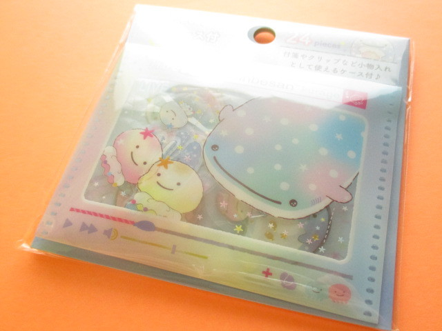 Photo1: Seal Bits Kawaii Cute Sticker Flakes Sack with Case San-x *Jinbesan (SE40007)