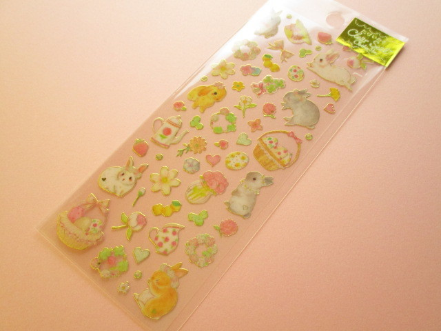 Photo1: Kawaii Cute Clear Sticker Sheet  たけいみき (Takei Miki) Clothes Pin *Natural Rabbit (US-15378)