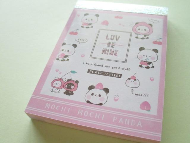 Photo1: Kawaii Cute Mini Memo Pad Mochi Mochi Panda Kamio Japan *Peach Cherry (25646)
