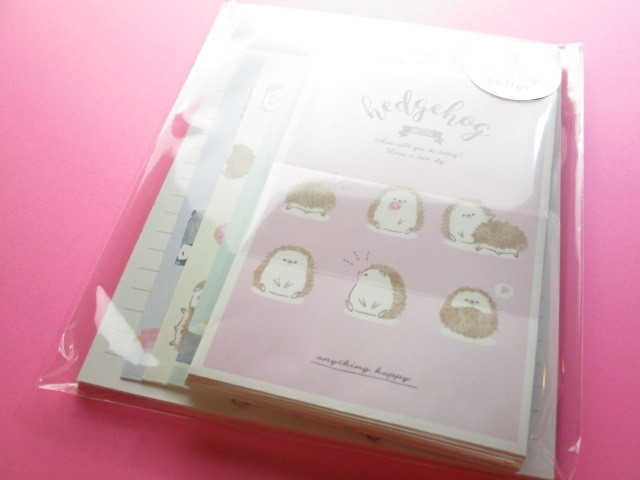 Photo1: Kawaii Cute Volumy Letter Set Q-LiA *Hedgehog & Penguin (40156)