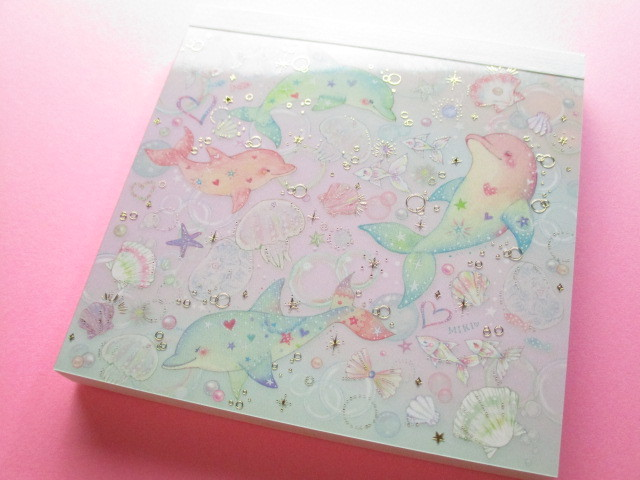 Photo1: Kawaii Cute Medium Memo Set たけい みき (Takei Miki) Clothes Pin *Dolphin (MM-15244)