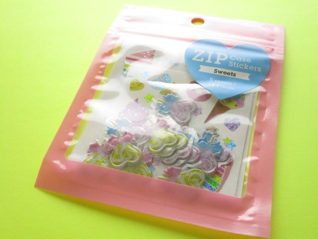 Photo1: Kawaii Cute Zip Case Sticker Flakes Sack Kamio Japan *Sweets (07201)