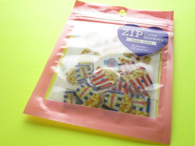 Photo1: Kawaii Cute Zip Case Sticker Flakes Sack Kamio Japan *Junk Food (07202)
