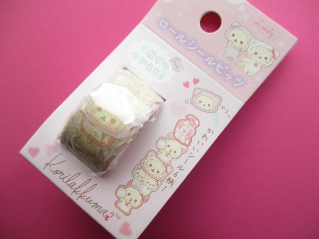 Photo1: Kawaii Cute Roll Tape Seal Bits Stickers Rilakkuma San-x *Korilakkuma in the mirror (SE43901)