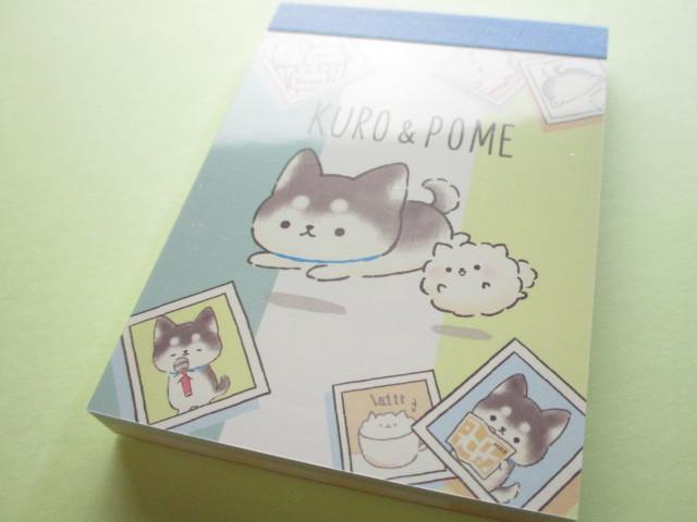 Photo1: Kawaii Cute Mini Memo Pad Kamio Japan *Kuro & Pome (26129)